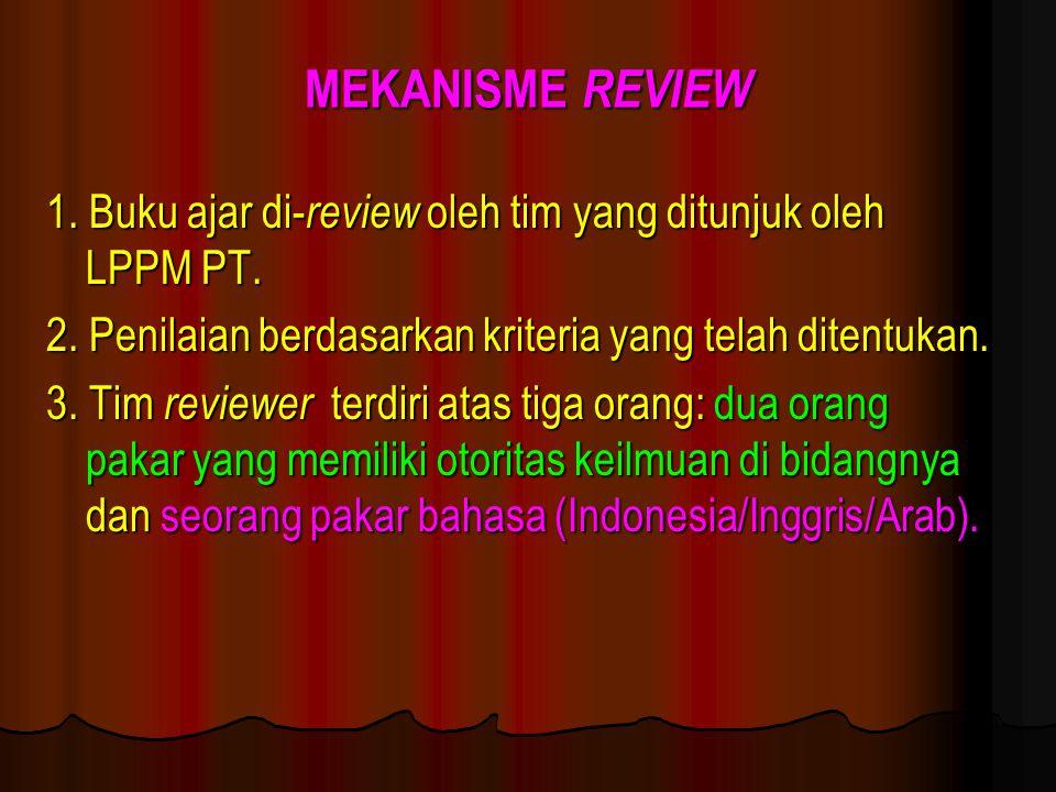 MEKANISME REVIEW 1. Buku ajar di- review oleh tim yang ditunjuk oleh LPPM PT. 2. Penilaian berdasarkan kriteria yang telah ditentukan. 3. Tim reviewer