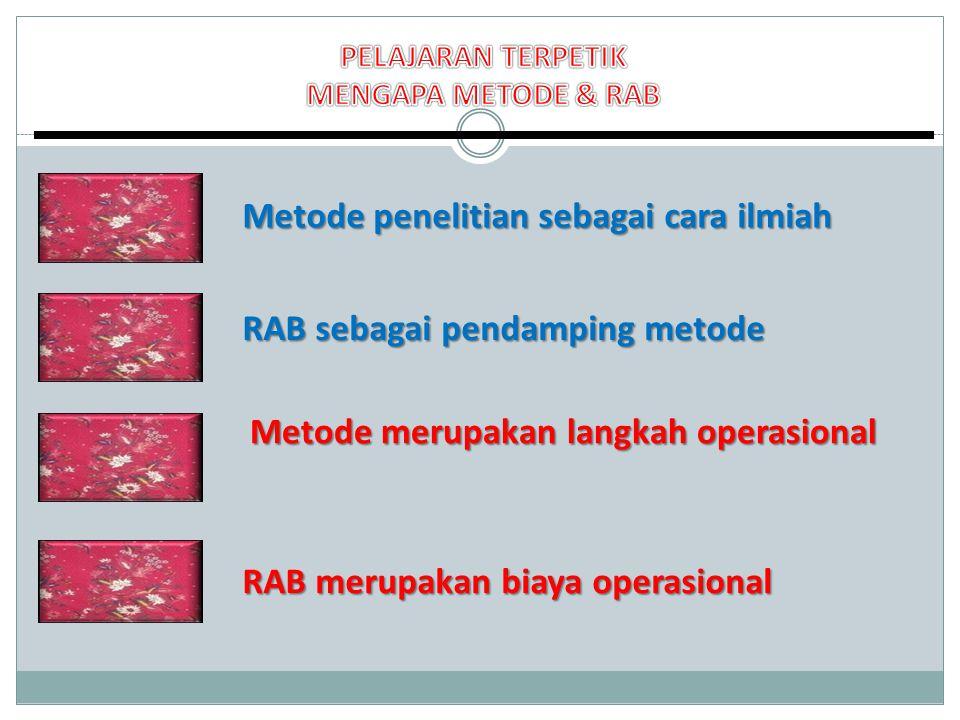 Metode penelitian sebagai cara ilmiah RAB sebagai pendamping metode RAB merupakan biaya operasional Metode merupakan langkah operasional