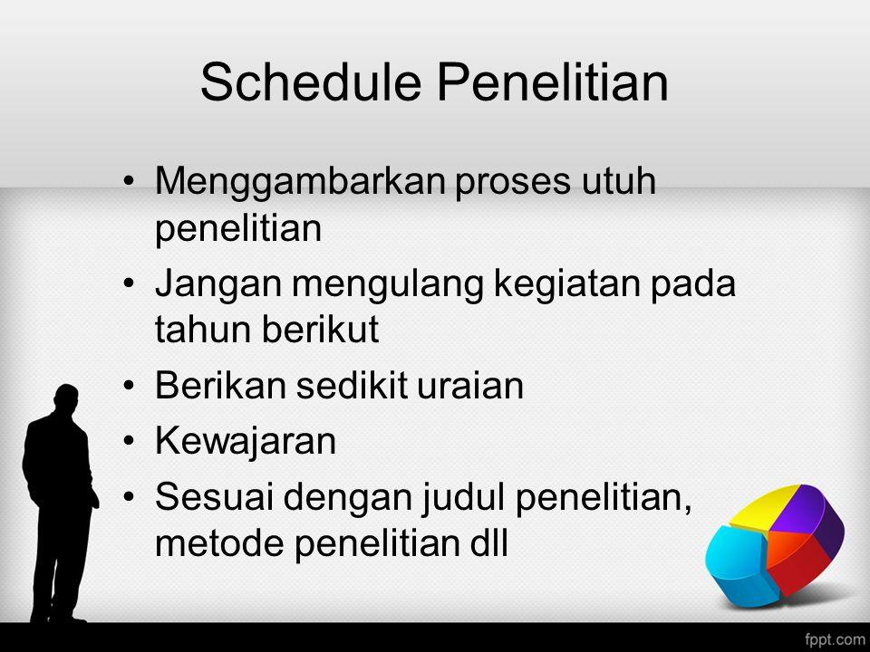 Schedule Penelitian Menggambarkan proses utuh penelitian Jangan mengulang kegiatan pada tahun berikut Berikan sedikit uraian Kewajaran Sesuai dengan j