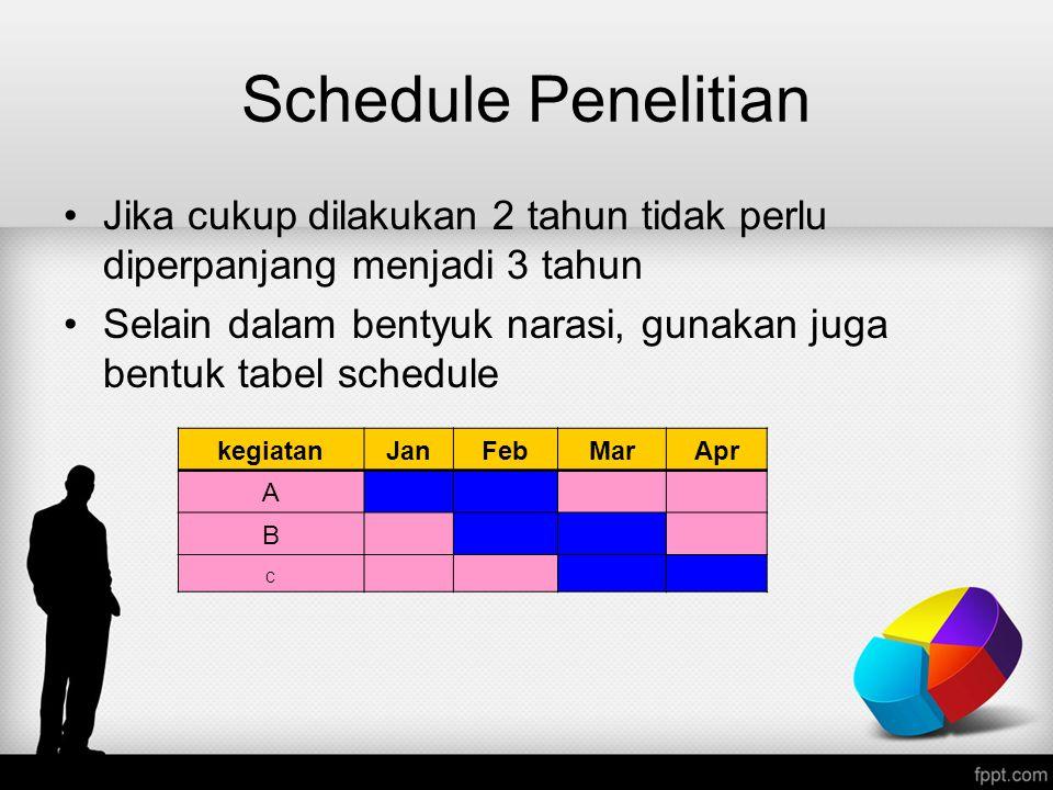 Schedule Penelitian Jika cukup dilakukan 2 tahun tidak perlu diperpanjang menjadi 3 tahun Selain dalam bentyuk narasi, gunakan juga bentuk tabel sched