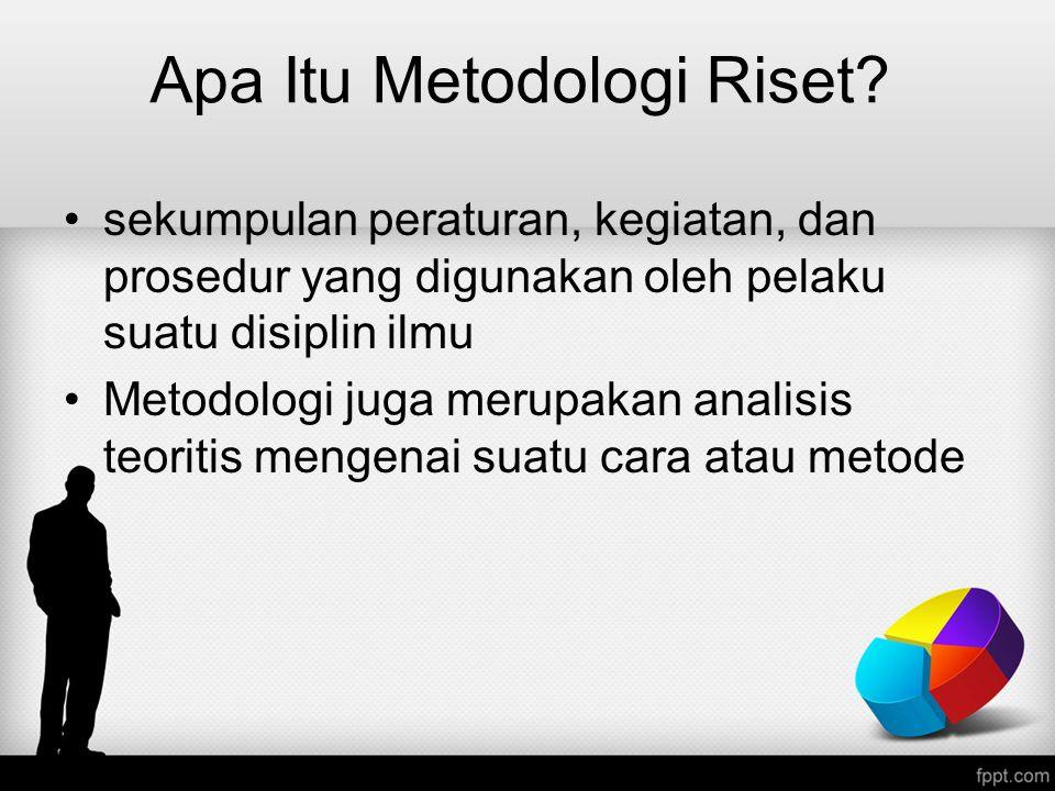 Apa Itu Metodologi Riset? sekumpulan peraturan, kegiatan, dan prosedur yang digunakan oleh pelaku suatu disiplin ilmu Metodologi juga merupakan analis