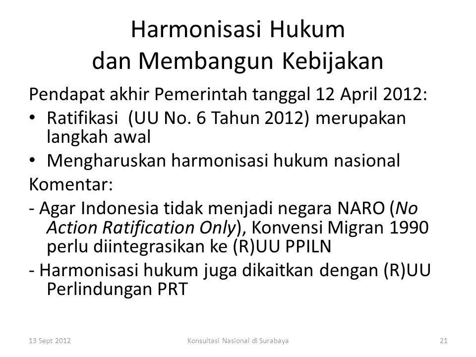 Harmonisasi Hukum dan Membangun Kebijakan Pendapat akhir Pemerintah tanggal 12 April 2012: Ratifikasi (UU No.