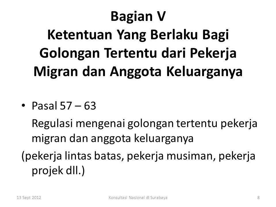 Bagian VI Memajukan Kondisi Yang Baik, Setara, Manusiawi dan Sah Sehubungan dengan Migrasi Internasional Para Pekerja dan Anggota-anggota Keluarganya Pasal 64 – 71 Kewajiban negara-negara pihak Konvensi memajukan kondisi yang baik, setara, manusiawi dan sah sehubungan dengan Migrasi Internasional dari pekerja dan anggota-anggota keluarganya - menyediakan pelayanan yang tepat 13 Sept 20129Konsultasi Nasional di Surabaya