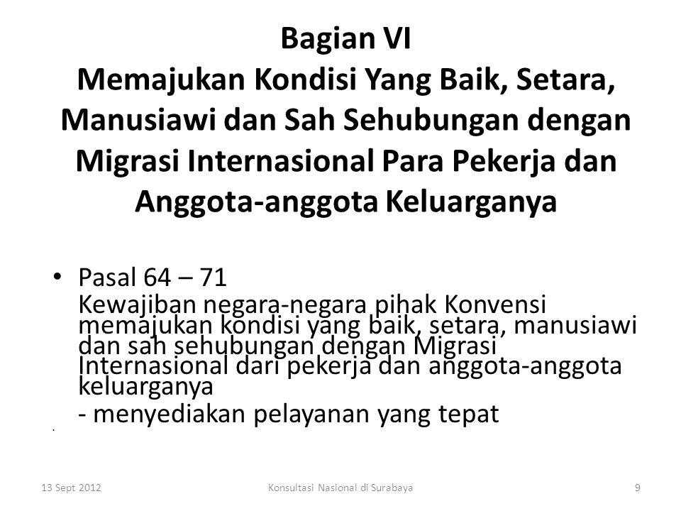 Bagian VII Penerapan Konvensi Pasal 72 – 78 1.Pembentukan Komite Committee on the Protection of the Rights of All Migrant Workers and Members of Their Families 2.Kewajiban Komite 3.Kewajiban negara-negara pihak Konvensi sehubungan dengan eksistensi Komite - laporan 13 Sept 201210Konsultasi Nasional di Surabaya