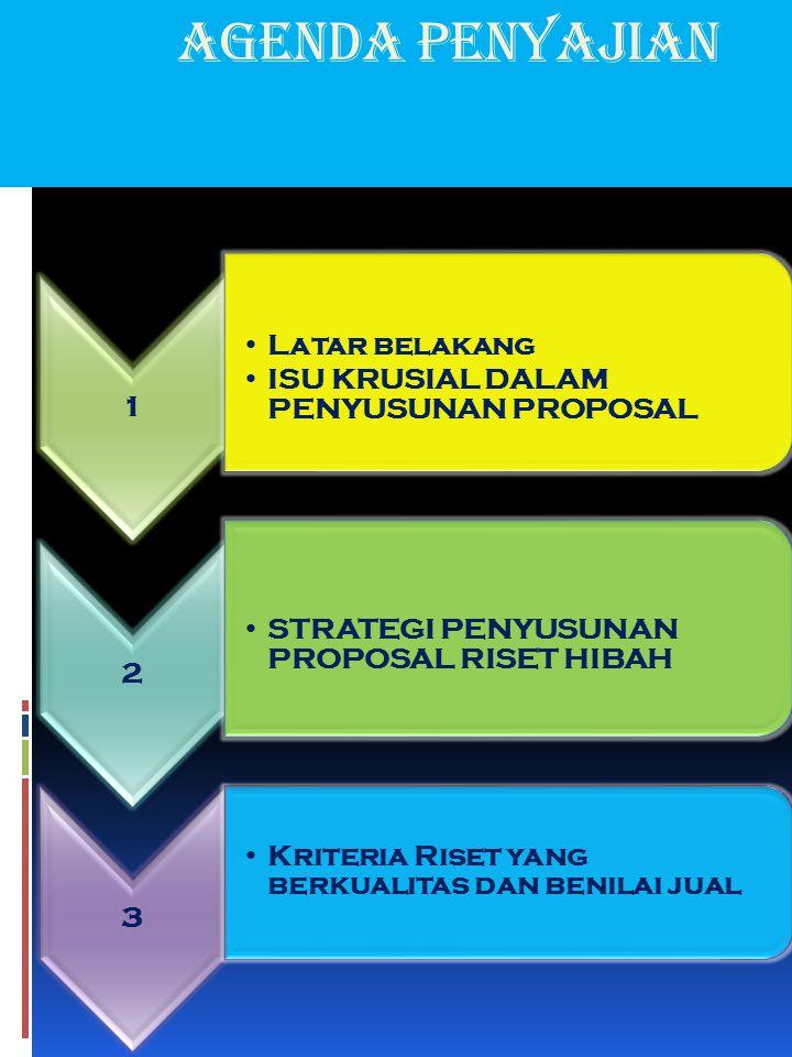 agenda Penyajian 1 Latar belakang ISU KRUSIAL DALAM PENYUSUNAN PROPOSAL 2 STRATEGI PENYUSUNAN PROPOSAL RISET HIBAH 3 Kriteria Riset yang berkualitas d