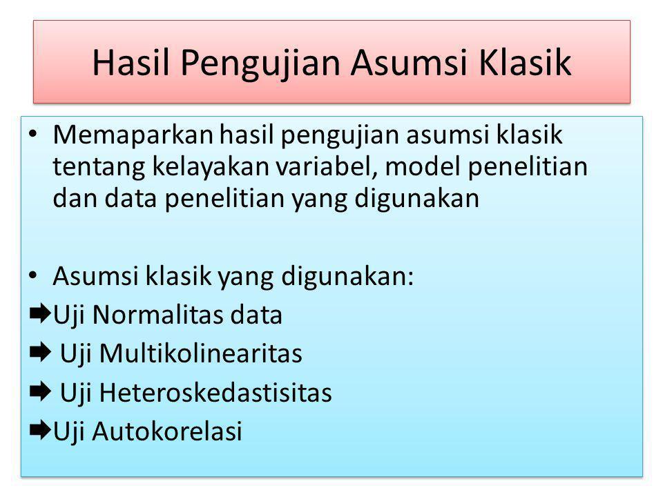 Hasil Pengujian Asumsi Klasik Memaparkan hasil pengujian asumsi klasik tentang kelayakan variabel, model penelitian dan data penelitian yang digunakan