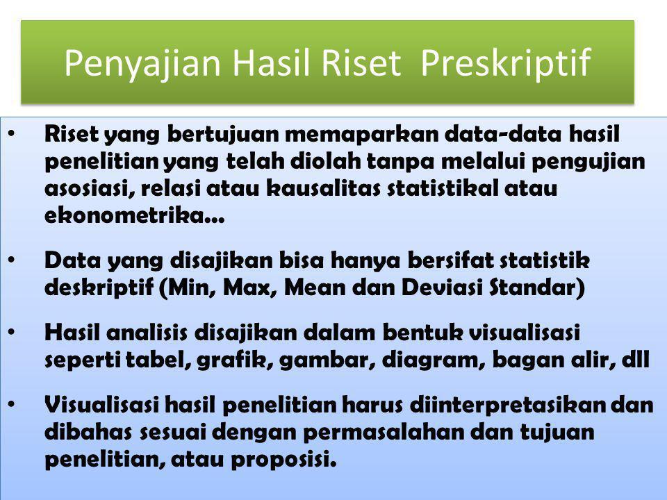 Penyajian Hasil Riset Preskriptif Riset yang bertujuan memaparkan data-data hasil penelitian yang telah diolah tanpa melalui pengujian asosiasi, relas