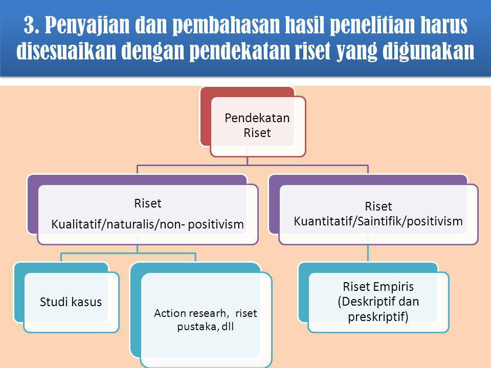 3. Penyajian dan pembahasan hasil penelitian harus disesuaikan dengan pendekatan riset yang digunakan Pendekatan Riset Riset Kualitatif/naturalis/non-
