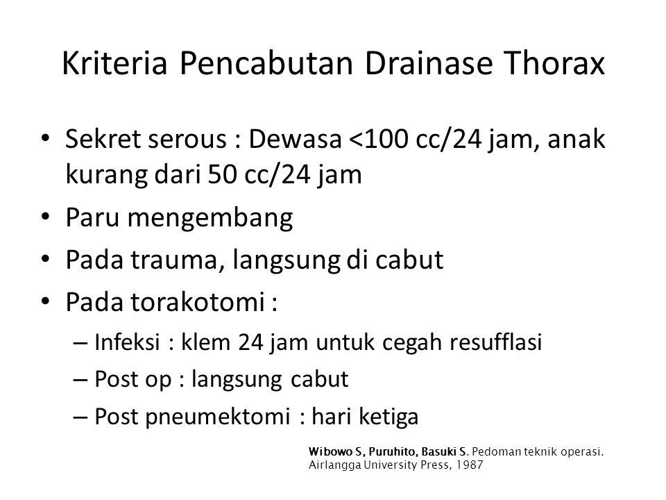 Kriteria Pencabutan Drainase Thorax Sekret serous : Dewasa <100 cc/24 jam, anak kurang dari 50 cc/24 jam Paru mengembang Pada trauma, langsung di cabut Pada torakotomi : – Infeksi : klem 24 jam untuk cegah resufflasi – Post op : langsung cabut – Post pneumektomi : hari ketiga Wibowo S, Puruhito, Basuki S.