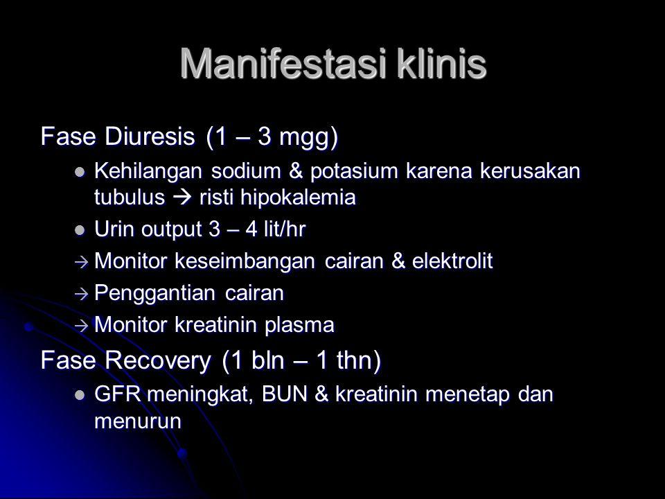 Manifestasi klinis Fase Diuresis (1 – 3 mgg) Kehilangan sodium & potasium karena kerusakan tubulus  risti hipokalemia Kehilangan sodium & potasium ka