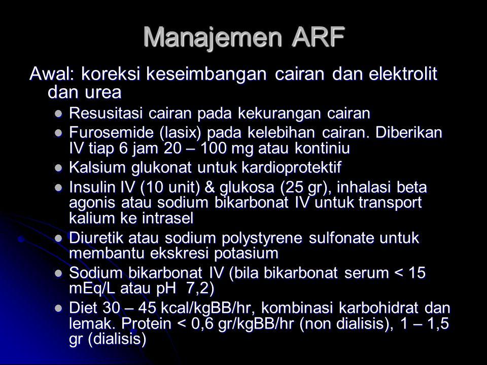Manajemen ARF Awal: koreksi keseimbangan cairan dan elektrolit dan urea Resusitasi cairan pada kekurangan cairan Resusitasi cairan pada kekurangan cai
