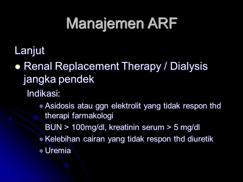 Manajemen ARF Lanjut Renal Replacement Therapy / Dialysis jangka pendek Renal Replacement Therapy / Dialysis jangka pendekIndikasi: Asidosis atau ggn