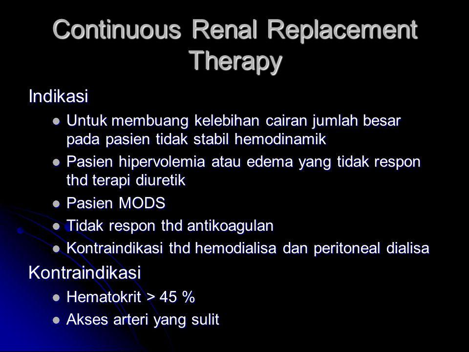 Continuous Renal Replacement Therapy Indikasi Untuk membuang kelebihan cairan jumlah besar pada pasien tidak stabil hemodinamik Untuk membuang kelebih