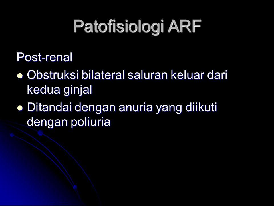 Patofisiologi ARF Post-renal Obstruksi bilateral saluran keluar dari kedua ginjal Obstruksi bilateral saluran keluar dari kedua ginjal Ditandai dengan