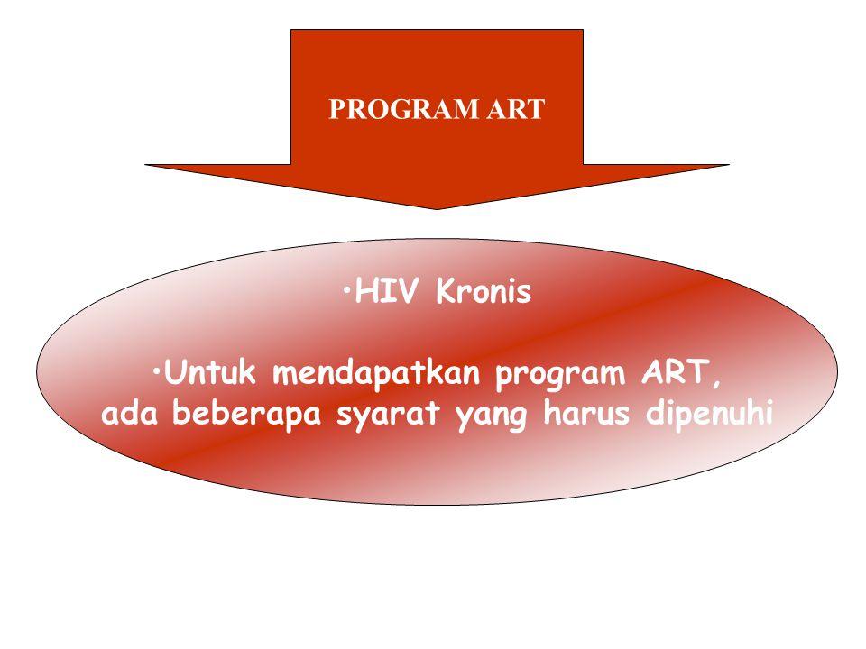 PROGRAM ART HIV Kronis Untuk mendapatkan program ART, ada beberapa syarat yang harus dipenuhi