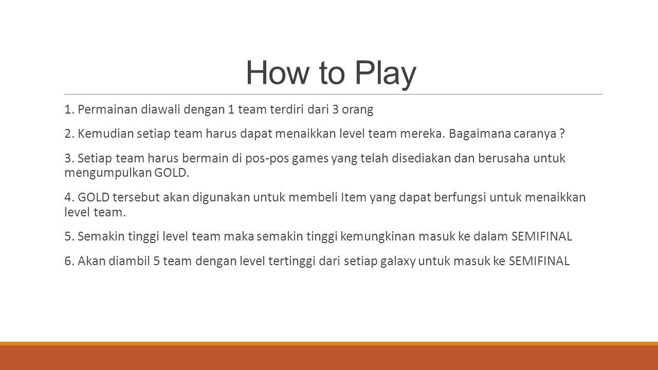 How to Play 1. Permainan diawali dengan 1 team terdiri dari 3 orang 2. Kemudian setiap team harus dapat menaikkan level team mereka. Bagaimana caranya