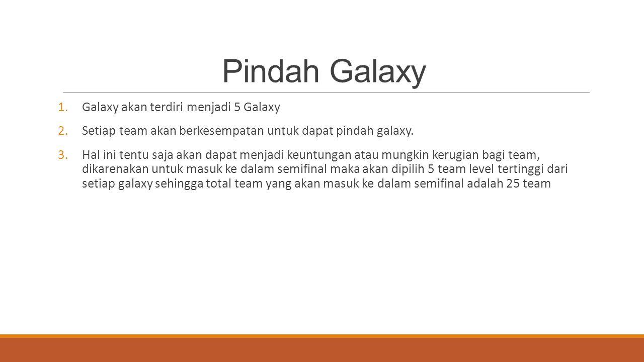 Pindah Galaxy 1.Galaxy akan terdiri menjadi 5 Galaxy 2.Setiap team akan berkesempatan untuk dapat pindah galaxy. 3.Hal ini tentu saja akan dapat menja