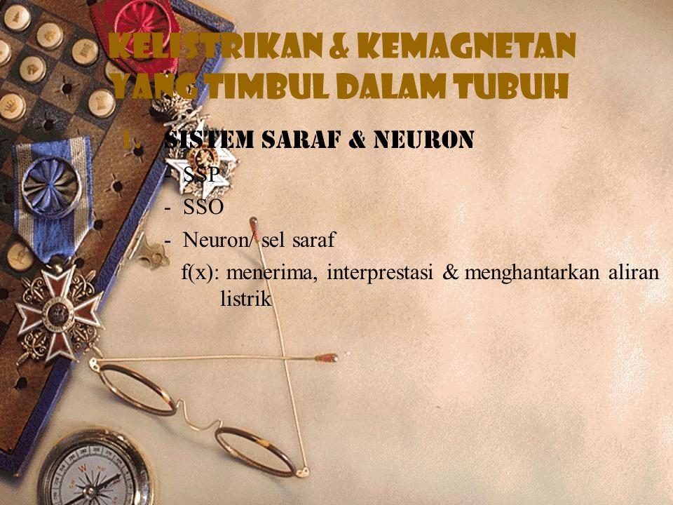 Kelistrikan & kemagnetan yang timbul dalam tubuh 1.Sistem saraf & neuron - SSP - SSO - Neuron/ sel saraf f(x): menerima, interprestasi & menghantarkan aliran listrik