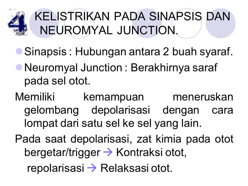 KELISTRIKAN PADA SINAPSIS DAN NEUROMYAL JUNCTION. Sinapsis : Hubungan antara 2 buah syaraf. Neuromyal Junction : Berakhirnya saraf pada sel otot. Memi