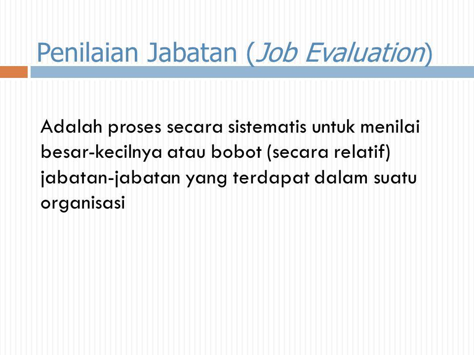 Penilaian Jabatan (Job Evaluation ) Adalah proses secara sistematis untuk menilai besar-kecilnya atau bobot (secara relatif) jabatan-jabatan yang terd