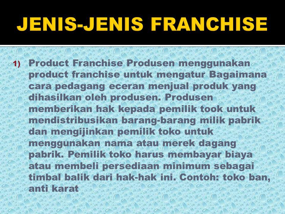  penekanan kontrol  franchise fee  sukar menilai kualitas franchisor  kontrak yang membatasi  tingkat ketergantungan pada franchisor tinggi  kebijakan-kebijakan franchisor  reputasi dan citra merek turun