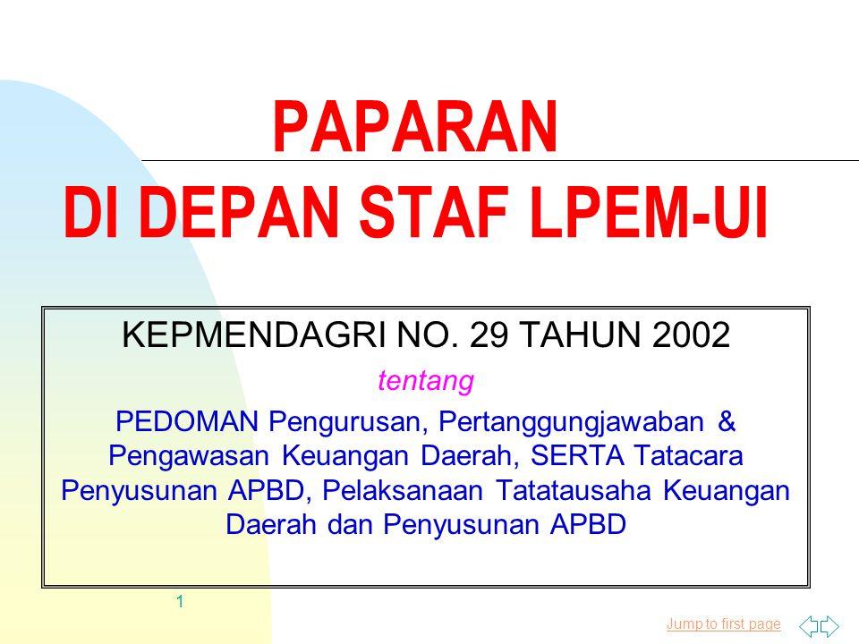 Jump to first page 1 PAPARAN DI DEPAN STAF LPEM-UI KEPMENDAGRI NO.