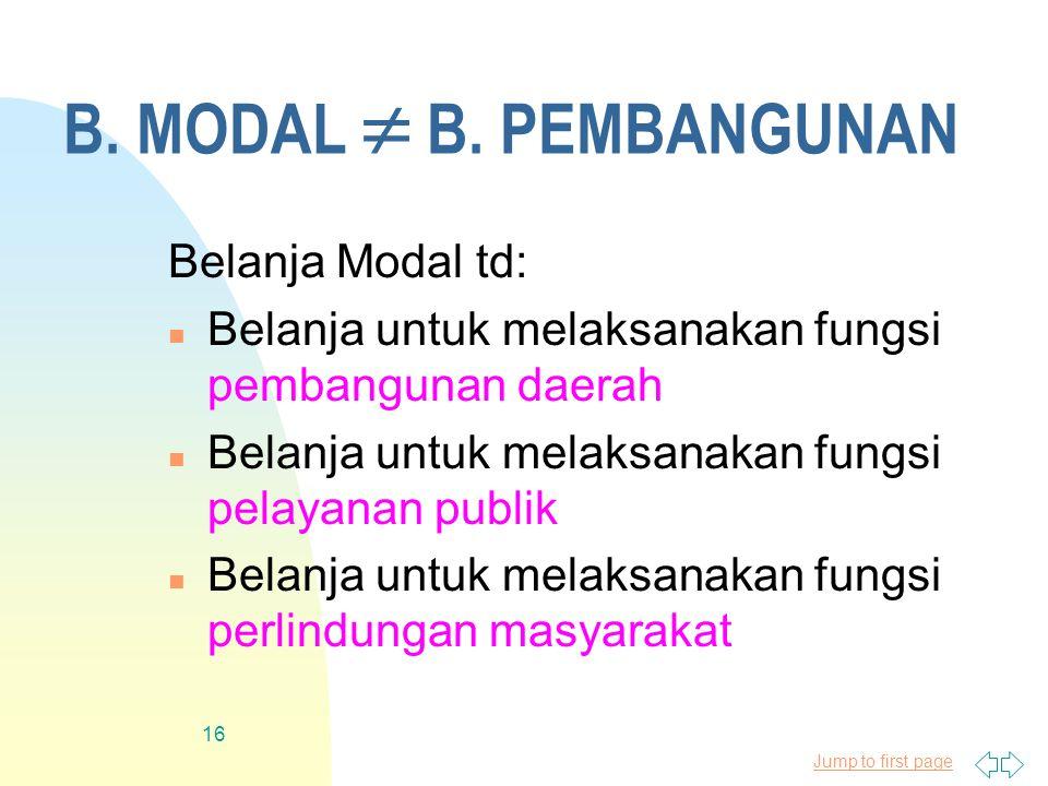 Jump to first page 16 B. MODAL  B. PEMBANGUNAN Belanja Modal td: n Belanja untuk melaksanakan fungsi pembangunan daerah n Belanja untuk melaksanakan