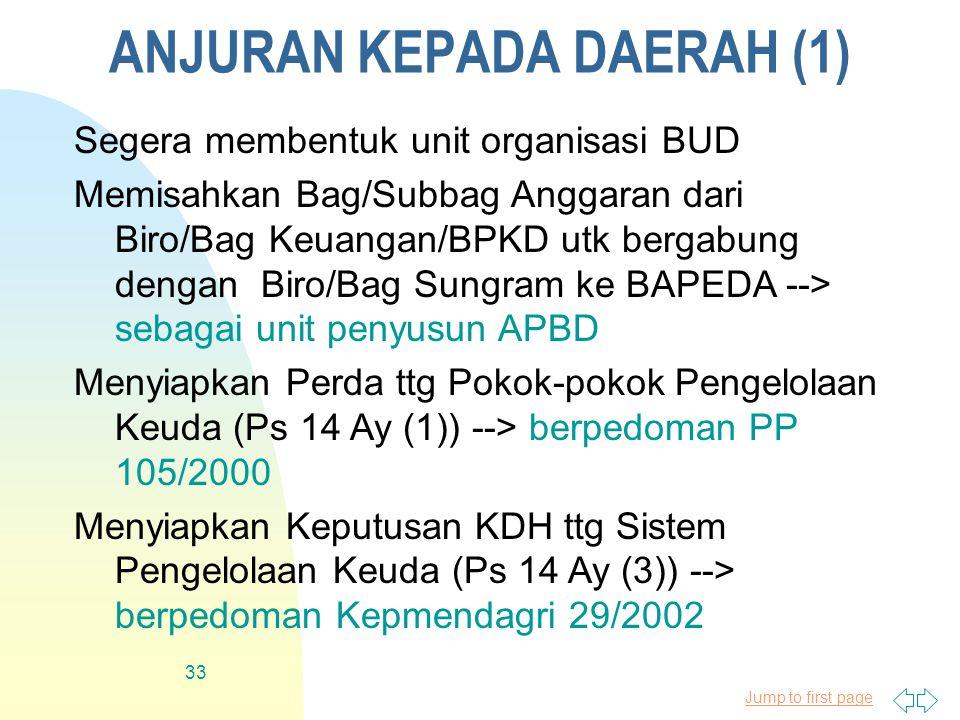 Jump to first page 33 ANJURAN KEPADA DAERAH (1) Segera membentuk unit organisasi BUD Memisahkan Bag/Subbag Anggaran dari Biro/Bag Keuangan/BPKD utk bergabung dengan Biro/Bag Sungram ke BAPEDA --> sebagai unit penyusun APBD Menyiapkan Perda ttg Pokok-pokok Pengelolaan Keuda (Ps 14 Ay (1)) --> berpedoman PP 105/2000 Menyiapkan Keputusan KDH ttg Sistem Pengelolaan Keuda (Ps 14 Ay (3)) --> berpedoman Kepmendagri 29/2002