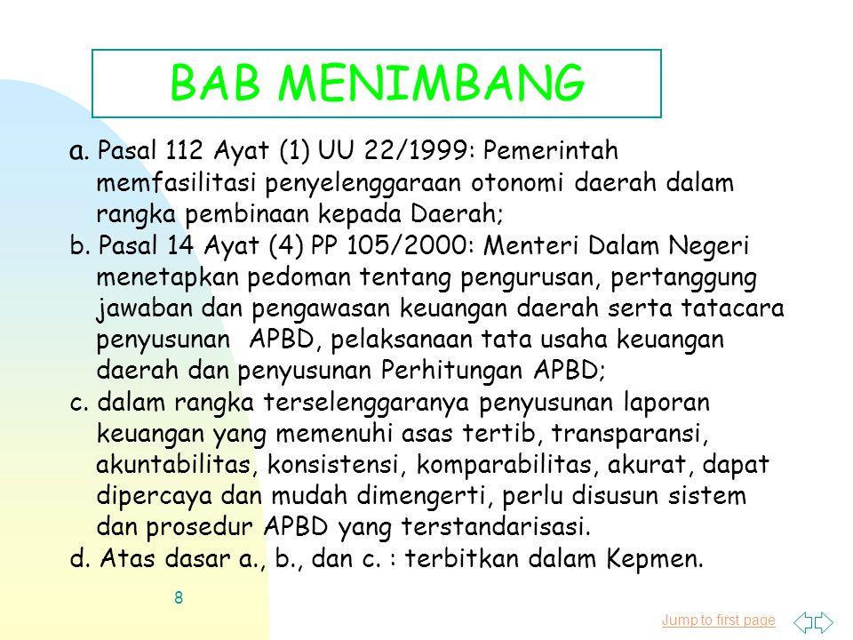 Jump to first page 8 a. Pasal 112 Ayat (1) UU 22/1999: Pemerintah memfasilitasi penyelenggaraan otonomi daerah dalam rangka pembinaan kepada Daerah; b