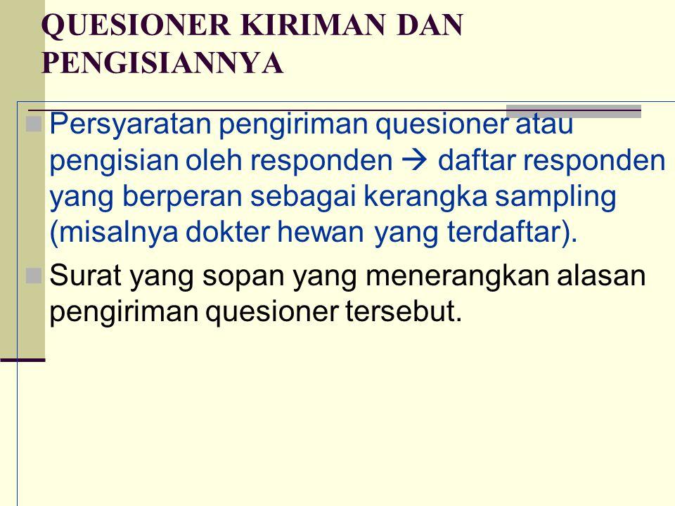 QUESIONER KIRIMAN DAN PENGISIANNYA Persyaratan pengiriman quesioner atau pengisian oleh responden  daftar responden yang berperan sebagai kerangka sa
