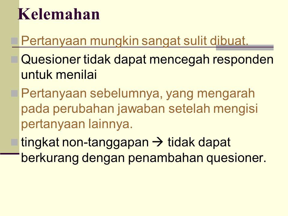 Kelemahan Pertanyaan mungkin sangat sulit dibuat. Quesioner tidak dapat mencegah responden untuk menilai Pertanyaan sebelumnya, yang mengarah pada per