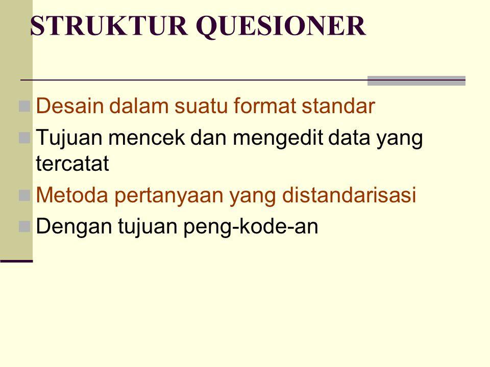 STRUKTUR QUESIONER Desain dalam suatu format standar Tujuan mencek dan mengedit data yang tercatat Metoda pertanyaan yang distandarisasi Dengan tujuan