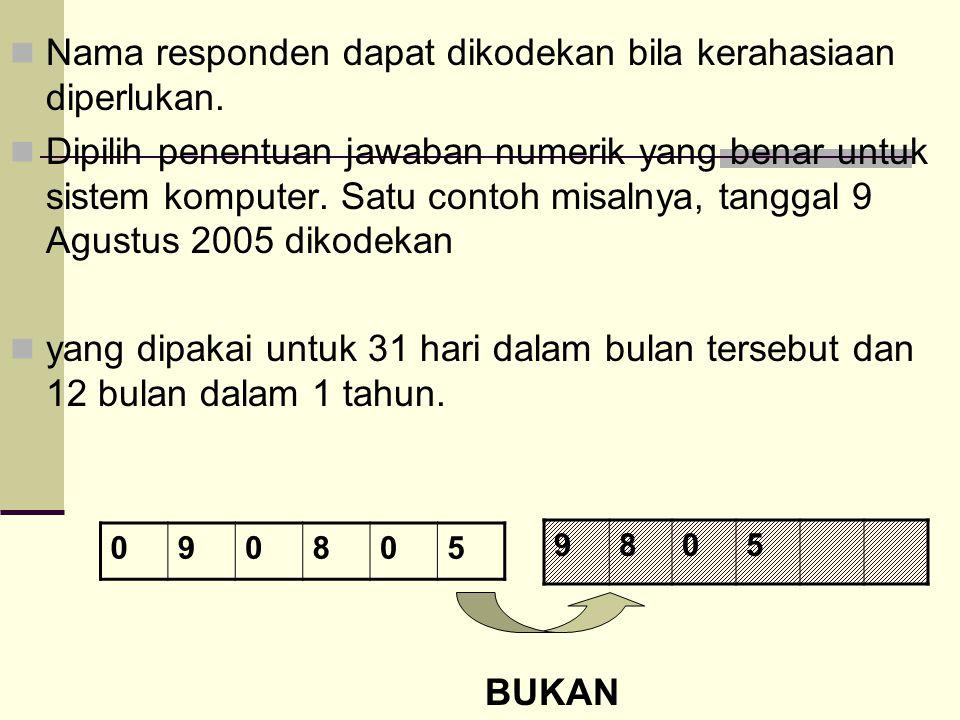 Nama responden dapat dikodekan bila kerahasiaan diperlukan. Dipilih penentuan jawaban numerik yang benar untuk sistem komputer. Satu contoh misalnya,