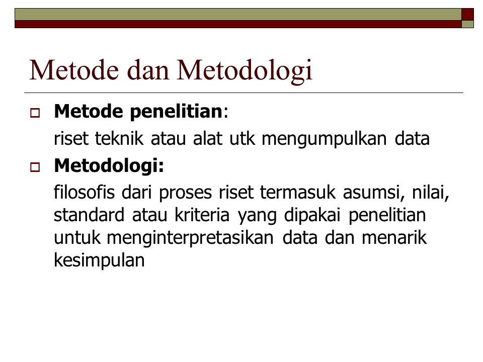 Metode dan Metodologi  Metode penelitian: riset teknik atau alat utk mengumpulkan data  Metodologi: filosofis dari proses riset termasuk asumsi, nilai, standard atau kriteria yang dipakai penelitian untuk menginterpretasikan data dan menarik kesimpulan