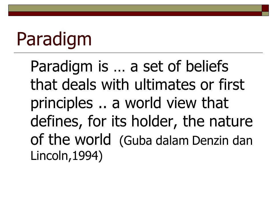Paradigm Paradigm is … a set of beliefs that deals with ultimates or first principles..
