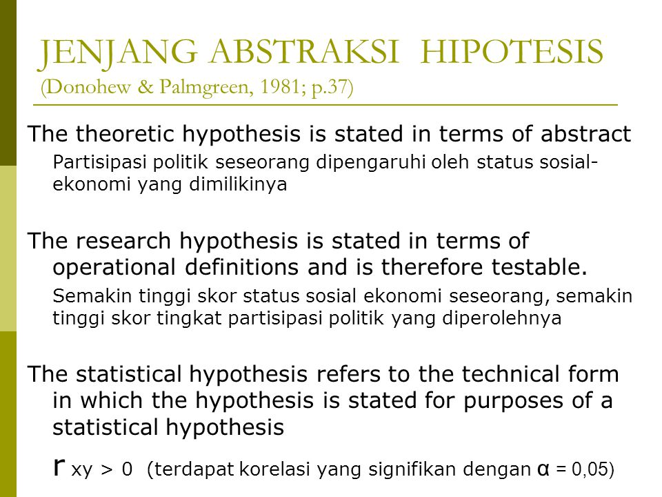 JENJANG ABSTRAKSI HIPOTESIS (Donohew & Palmgreen, 1981; p.37) The theoretic hypothesis is stated in terms of abstract Partisipasi politik seseorang dipengaruhi oleh status sosial- ekonomi yang dimilikinya The research hypothesis is stated in terms of operational definitions and is therefore testable.