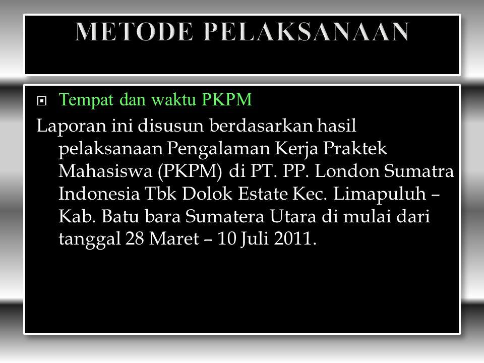  Tempat dan waktu PKPM Laporan ini disusun berdasarkan hasil pelaksanaan Pengalaman Kerja Praktek Mahasiswa (PKPM) di PT.