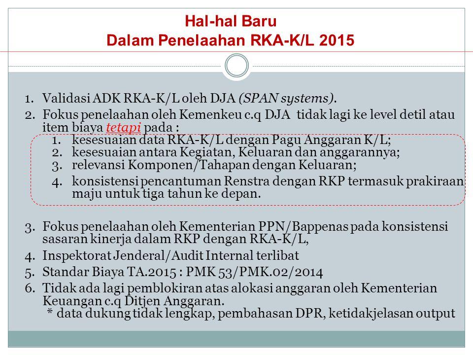 Hal-hal Baru Dalam Penelaahan RKA-K/L 2015 1.Validasi ADK RKA-K/L oleh DJA (SPAN systems). 2.Fokus penelaahan oleh Kemenkeu c.q DJA tidak lagi ke leve