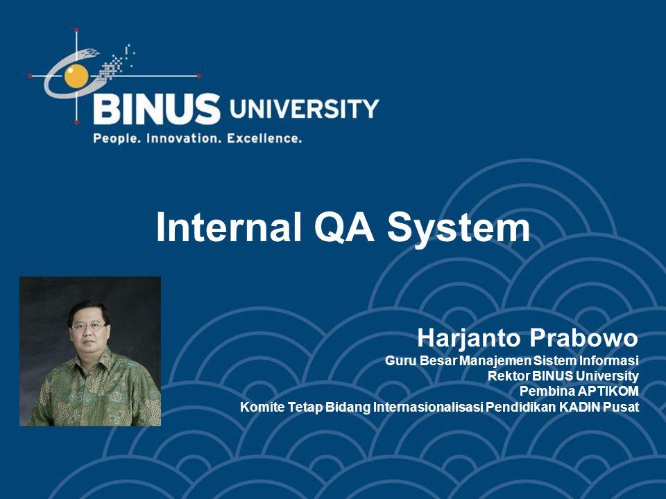 Internal QA System Harjanto Prabowo Guru Besar Manajemen Sistem Informasi Rektor BINUS University Pembina APTIKOM Komite Tetap Bidang Internasionalisasi Pendidikan KADIN Pusat