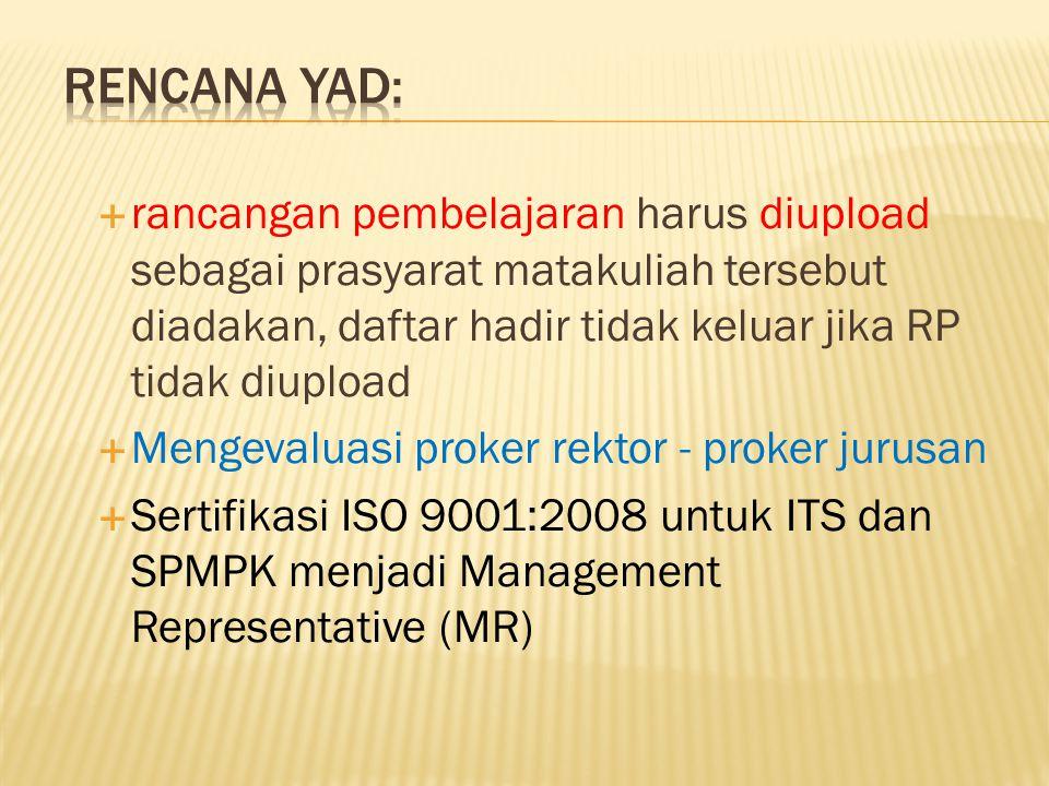  rancangan pembelajaran harus diupload sebagai prasyarat matakuliah tersebut diadakan, daftar hadir tidak keluar jika RP tidak diupload  Mengevaluasi proker rektor - proker jurusan  Sertifikasi ISO 9001:2008 untuk ITS dan SPMPK menjadi Management Representative (MR)