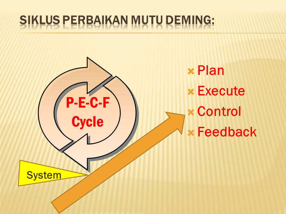  Plan  Execute  Control  Feedback P-E-C-F Cycle System