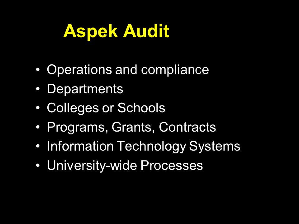 Aspek Audit Operations and compliance Departments Colleges or Schools Programs, Grants, Contracts Information Technology Systems University-wide Proce