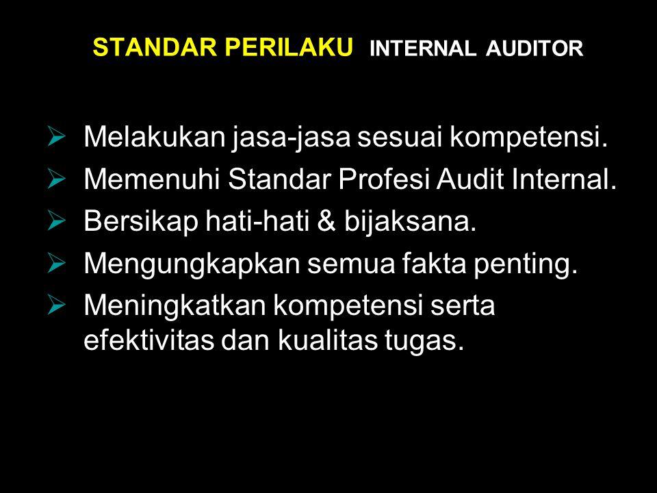 STANDAR PERILAKU INTERNAL AUDITOR  Melakukan jasa-jasa sesuai kompetensi.