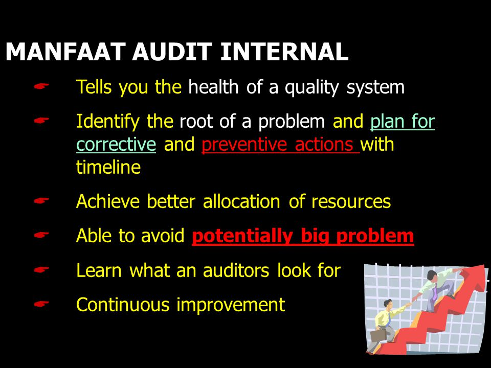 MANFAAT AUDIT INTERNAL  Tells you the health of a quality system  Identify the root of a problem and plan for corrective and preventive actions with