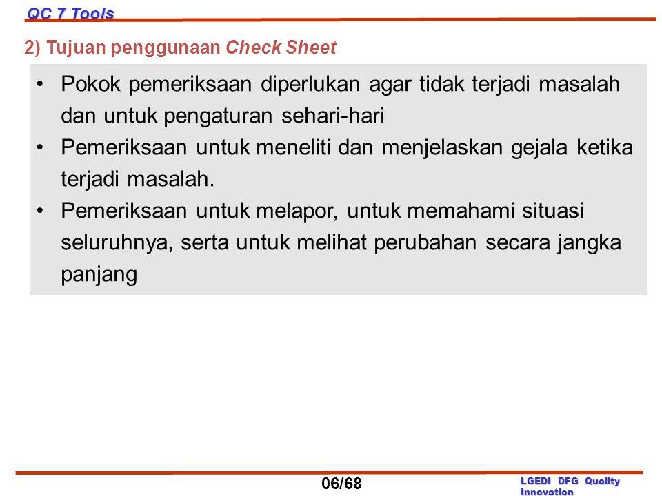 2) Tujuan penggunaan Check Sheet Pokok pemeriksaan diperlukan agar tidak terjadi masalah dan untuk pengaturan sehari-hari Pemeriksaan untuk meneliti d