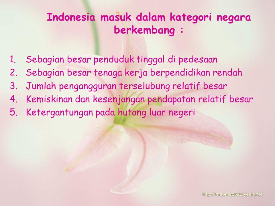 Indonesia masuk dalam kategori negara berkembang : 1.Sebagian besar penduduk tinggal di pedesaan 2.Sebagian besar tenaga kerja berpendidikan rendah 3.Jumlah pengangguran terselubung relatif besar 4.Kemiskinan dan kesenjangan pendapatan relatif besar 5.Ketergantungan pada hutang luar negeri