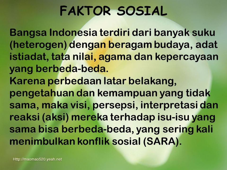 FAKTOR SOSIAL Bangsa Indonesia terdiri dari banyak suku (heterogen) dengan beragam budaya, adat istiadat, tata nilai, agama dan kepercayaan yang berbeda-beda.
