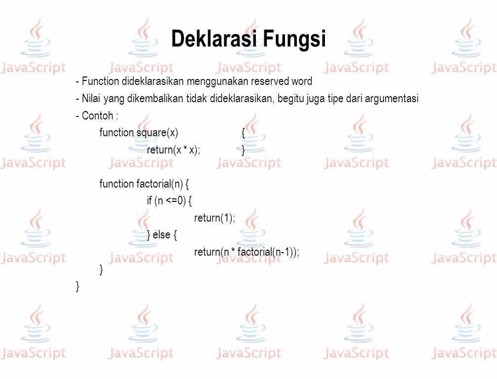 Deklarasi Fungsi - Function dideklarasikan menggunakan reserved word - Nilai yang dikembalikan tidak dideklarasikan, begitu juga tipe dari argumentasi