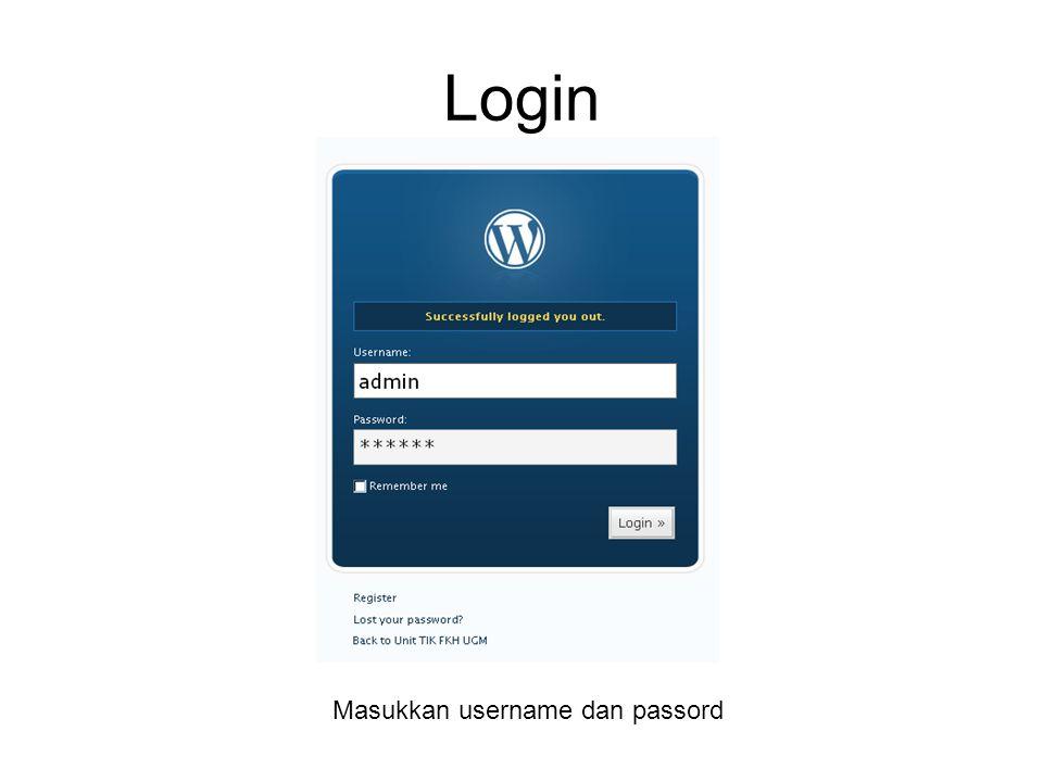Tampilan admin WP Fasilitas admin WP