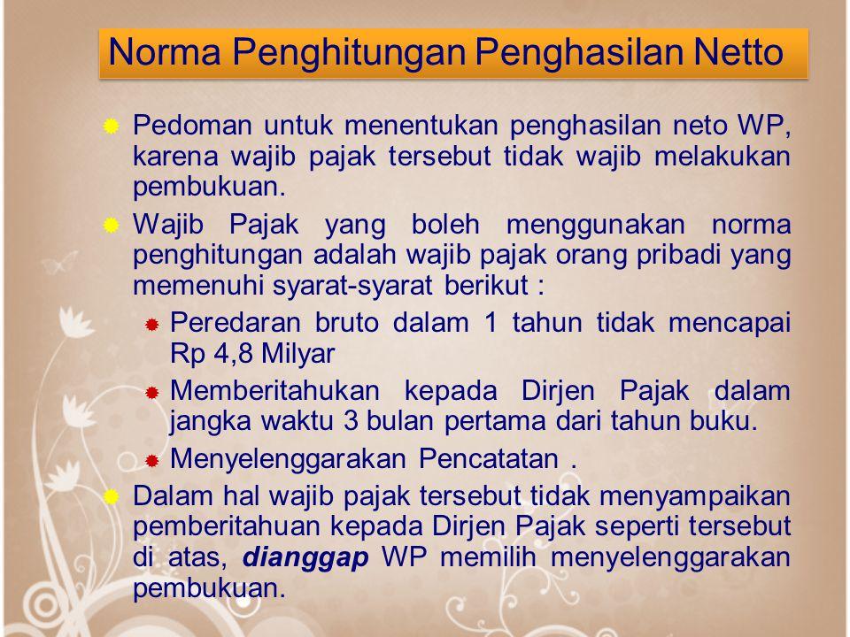 Norma Penghitungan Penghasilan Netto  Pedoman untuk menentukan penghasilan neto WP, karena wajib pajak tersebut tidak wajib melakukan pembukuan.  Wa